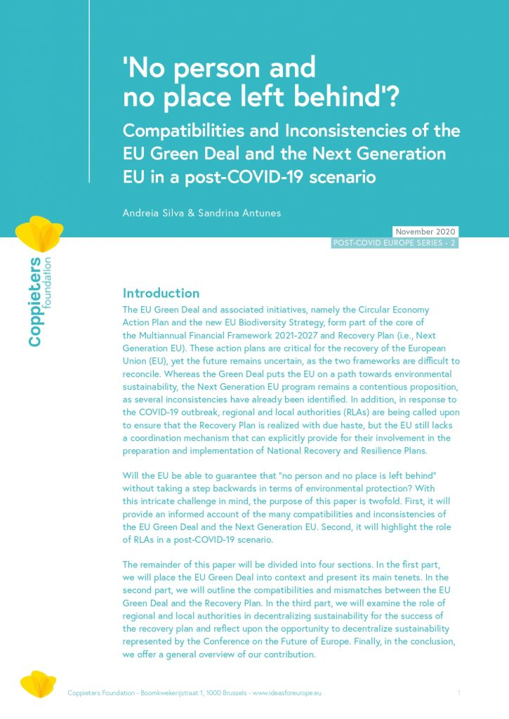 Compatibilities and Inconsistencies of the EU Green Deal and the Next Generation EU in a post-COVID-19 scenario – Post-Covid Europe #2